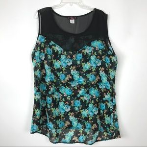 P Inc Womens 2X Blouse Tank Top Sleeveless Floral